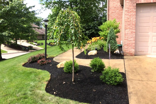 Artistic Tree & Landscape Creations residential landscape service — modern home landscape maintenance, mulching and shrubbery